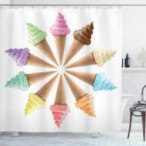 """Ambesonne Ice Cream Shower Curtain, Cones with Various Flavors Forming Row Summer Season Picture Print, Cloth Fabric Bathroom Decor Set with Hooks, 70"""" Long, Cream"""