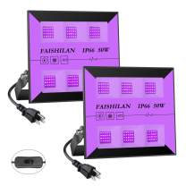 FAISHILAN 2 Pack 30W Led Black Lights Outdoor, UV Flood Lights with Plug & Switch, IP66 Waterproof Blacklights, Black Light for Parties, Body Paint, Fluorescent Poster