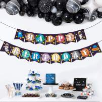 Yaaaaasss! Outer Space Solar System Happy Birthday Banner Kids Rocket Theme Party Pennant Decoration Supplies
