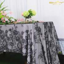 ShinyBeauty Lace Party Tablecloth Rustic Floral Fabric Rectangle Lace Table Cloth Baby Tablecloth Tea Party Tablecloth Fabric Table Cover (1, Black-015)