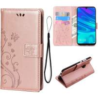 Teebo Wallet Case for Huawei P Smart 2019, 3 Card Holder Embossed Butterfly Flower PU Leather Magnetic Flip Cover for Huawei Honor 10 Lite(Rose Gold)