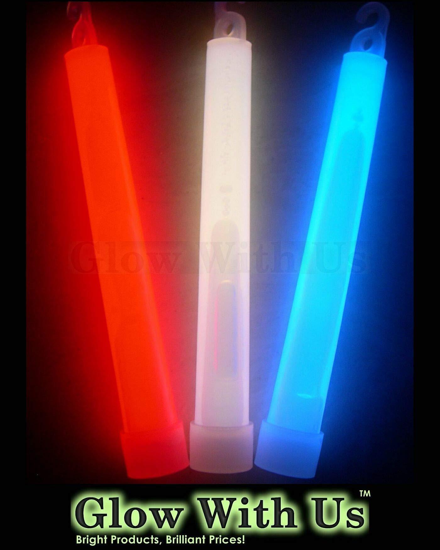 "Glow Sticks Bulk Wholesale, 75 6"" Industrial Grade Light Sticks, Bright Red/White/Blue Patriotic Colors, Glow 12-14 Hrs, Glow Stick with 3-Year Shelf Life, GlowWithUs Brand"