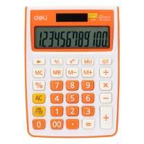 Calculator, Deli Standard Function Desktop Basic Calculators with 12 Digit Large LCD Display, Solar Battery Dual Power Office Calculator, Orange