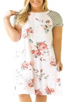 Nemidor Women's Floral Striped Loose Plus Size Casual Swing T-Shirt Dress with Pocket