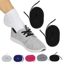 Vive No Tie Shoe Laces (Black Pair) - Elastic Lace Up - Flat Replacement Shoelaces for Men, Women, Sports, Running, Adults, Kids, Tennis, Disabled, Elderly, Dress Assist - One Size Long, Stretch Bands