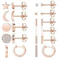 FIBO STEEL 11 Pairs Stainless Steel Star Moon Stud Earrings for Women Girls Cute CZ Inlaid Stud Earring Set