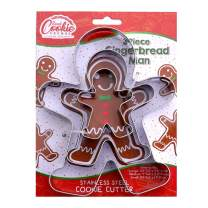 "Gingerbread Man Cookie Cutter Set - 3 Piece - Large 5.8"", 4"", 2.4"" Tall - Stainless Steel"