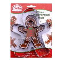 """Gingerbread Man Cookie Cutter Set - 3 Piece - Large 5.8"""", 4"""", 2.4"""" Tall - Stainless Steel"""