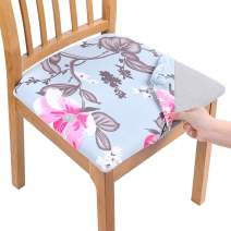 smiry Printed Dining Chair Seat Covers - Stretchy Removable Washable Upholstered Chair Seat Slipcover Protector (Set of 2, Pink Flower)