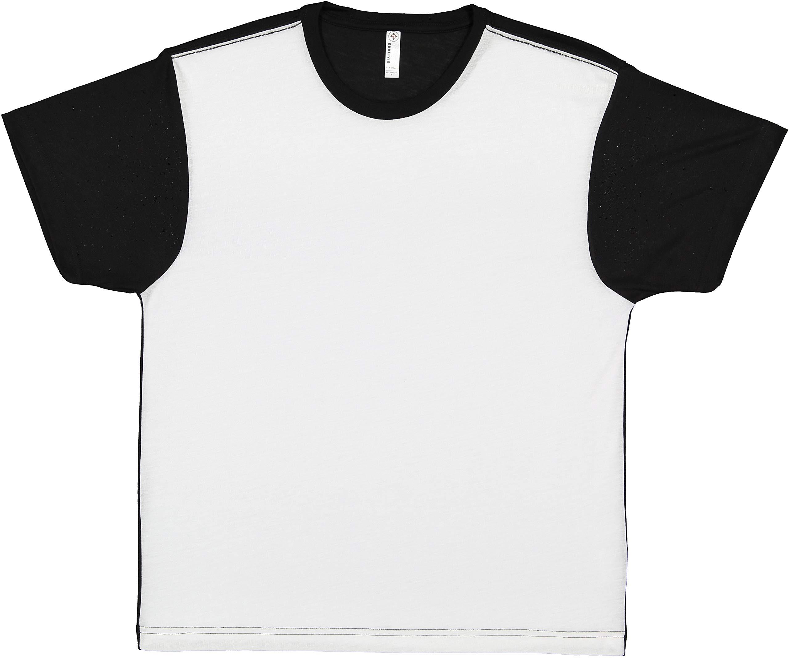 SUBLIVIE Men's 100% Polyester Color Block Crew Neck Short Sleeve Sublimation T-Shirt