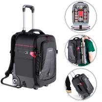 Neewer 2-in-1 Rolling Camera Backpack Trolley Case - Anti-Shock Detachable Padded Compartment, Hidden Pull Bar, Durable, Waterproof for Camera,Tripod,Flash Light,Lens,Laptop for Air Travelling(Black)