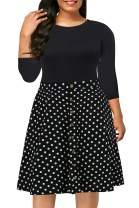 Nemidor Women's Casual 3/4 Sleeve Fit and Flare Dress Plus Size Button Down Vintage Swing Midi Dress NEM217 (22W, Black+Dot)