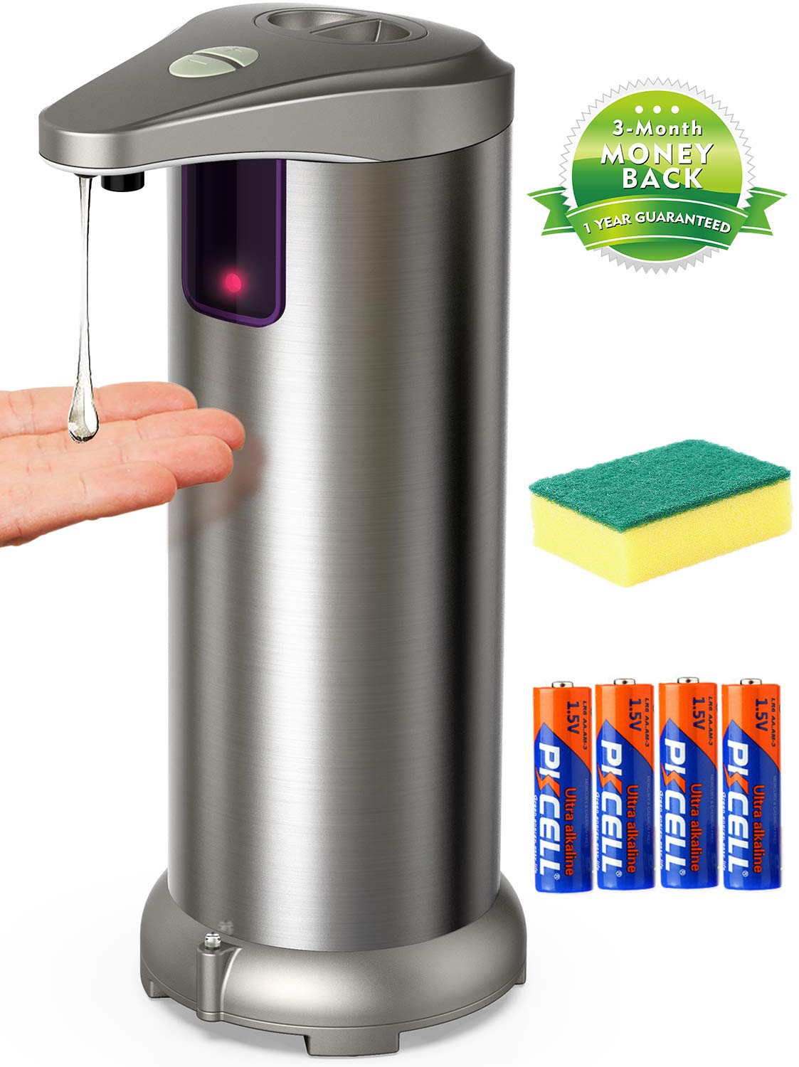 Apanage Soap Dispenser, Touchless Automatic Soap Dispenser Equipped Stainless Steel w/Infrared Motion Sensor Upgraded Waterproof Base for Bathroom & Kitchen