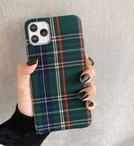 Mixneer Warm Flannel Plaid Cloth Phone Case Simple Plush Fabric Phone Case for iPhone X Xs Xsmax Xr 11 Pro Max 6s 7 8 Plus Cover (iPhone Xs max,Green)