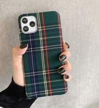Mixneer Warm Flannel Plaid Cloth Phone Case Simple Plush Fabric Phone Case for iPhone X Xs Xsmax Xr 11 Pro Max 6s 7 8 Plus Cover (iPhone 7/8 Plus,Green)