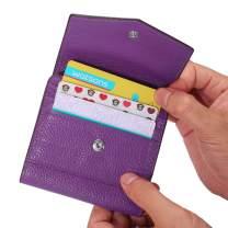 AINIMOER Leather Small Card Holder Women's RFID Blocking Zipper Wallets, Ladies Mini Bifold Pocket Purse
