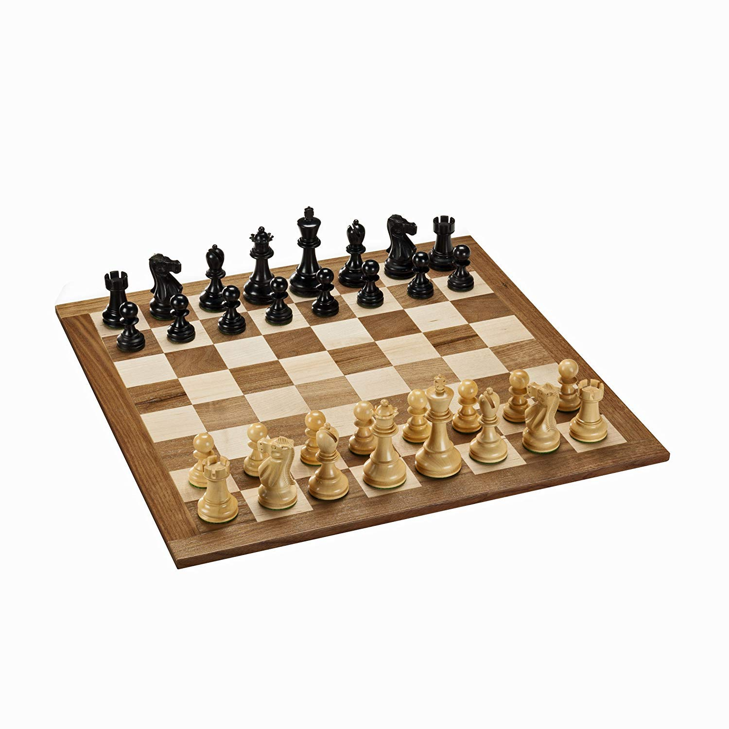 WE Games Deluxe English Chess Set with Natural & Black Weighted Pieces & 18 in. Board (Made in USA)