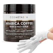 Arabica Coffee Body & Face Scrub- with Exfoliating Glove 100% Natural with Coconut and Shea Butter- Best Acne Best Acne, Anti Cellulite and Stretch Mark treatment, Spider Vein Therapy for Varicose Ve…