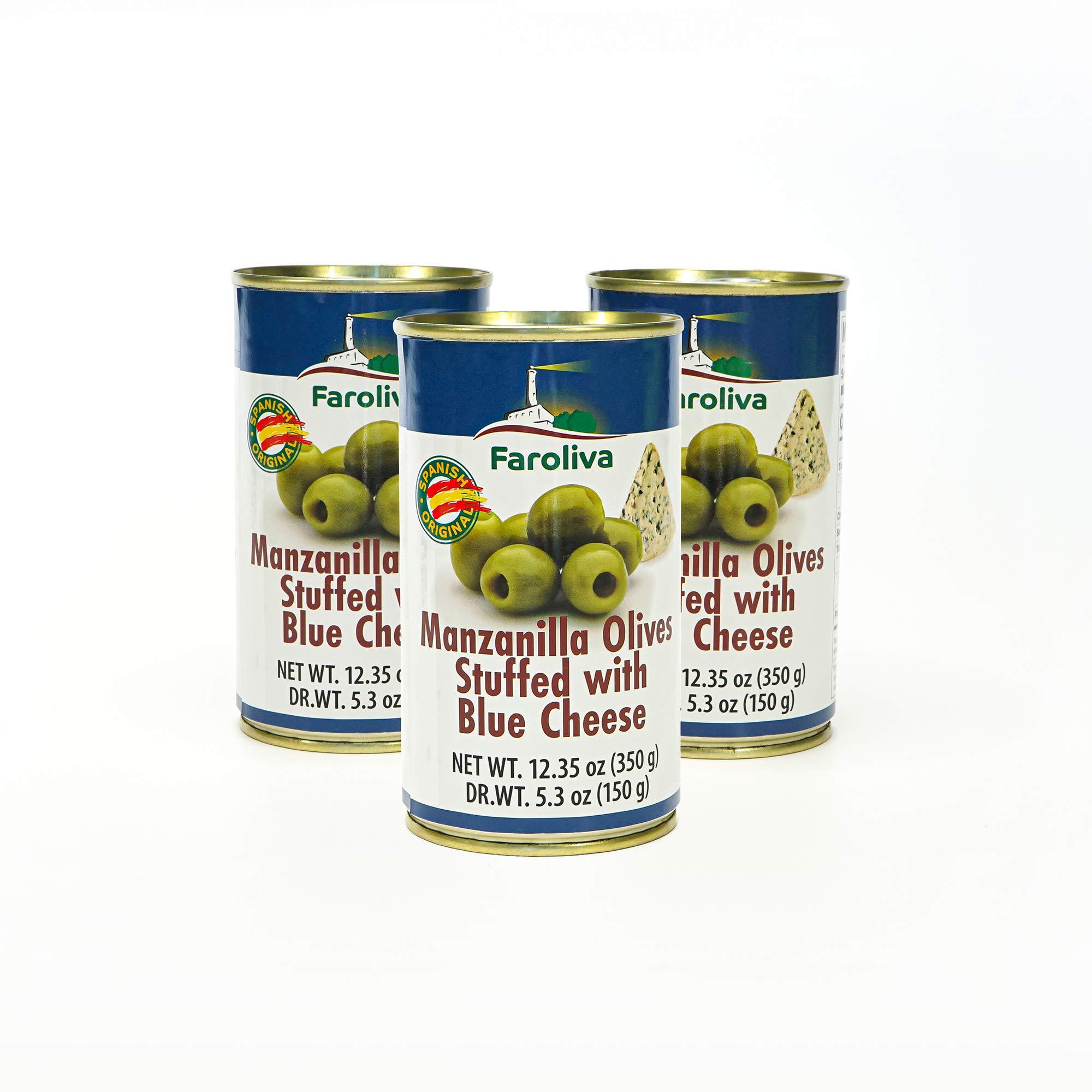 Manzanilla Olives stuffed with 12.35 oz (350g) by Faroliva (Blue Cheese, 3 Pack)