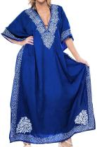 LA LEELA Women's Long Caftan Casual Dress Night Gown Beach Cover Ups Embroidery