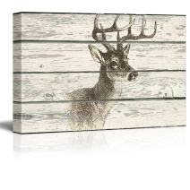 wall26 - Illustration of a Deer's Upper Body on a Rustic Wooden Background - Canvas Art Home Decor - 16x24 inches