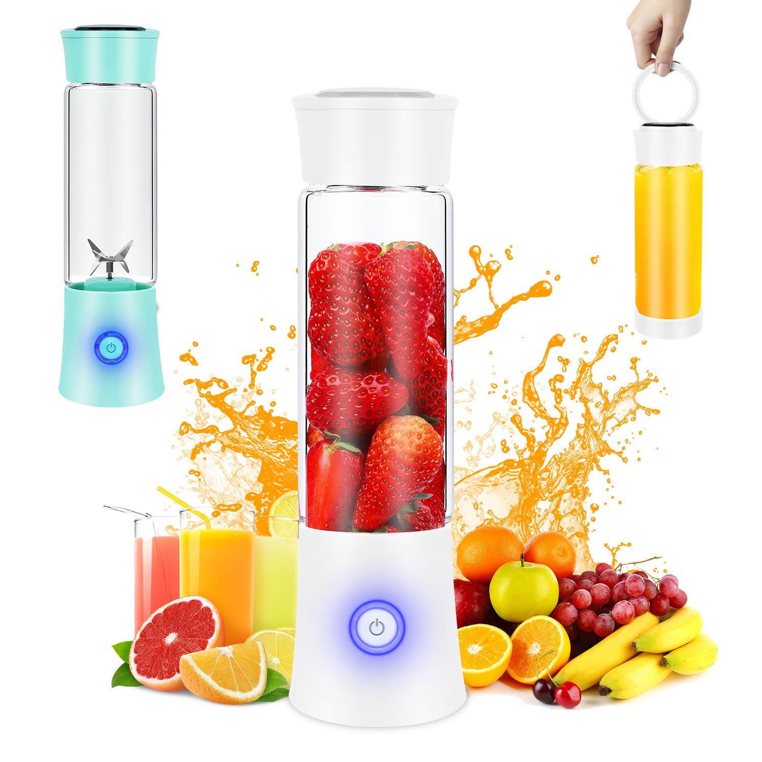 Portable Blender, Personal Blender for Shakes and Smoothies, 6 Stainless Steel Blades Cordless USB Rechargeable Juicer Cup with 4000mAh Batteries, Handheld 16oz Mini Travel Blender Small Fruit Mixer Detachable for Home Office Gym Outdoor, White
