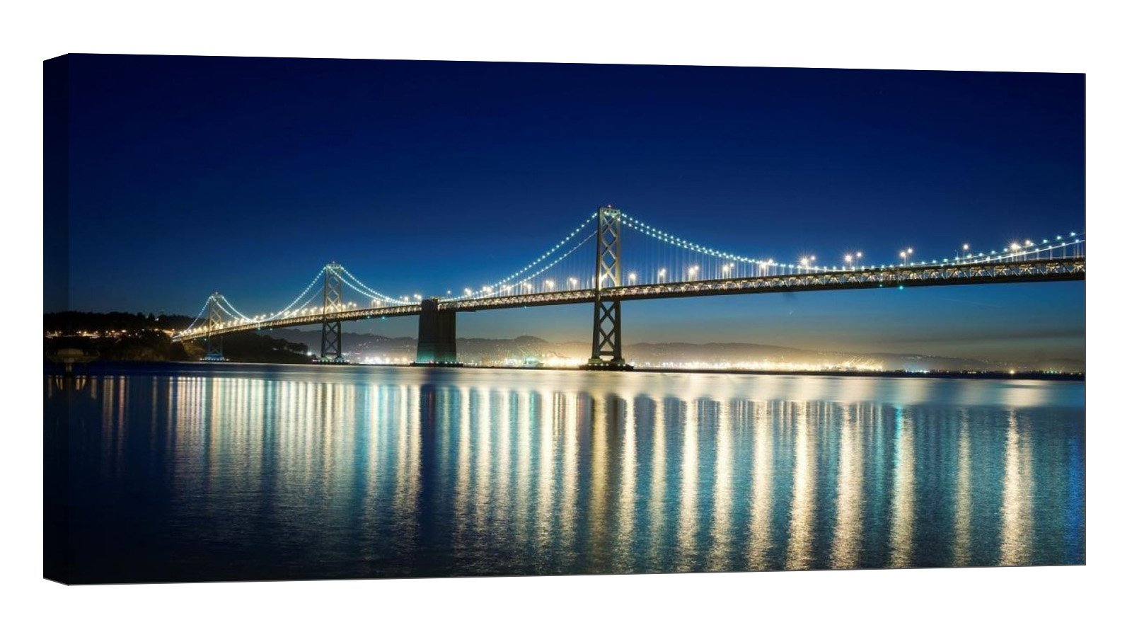 LightFairy Glow in The Dark Canvas Painting - Stretched and Framed Giclee Wall Art Print - City Urban San Francisco Bay Bridge - Master Bedroom Living Room Décor - 32 x 16 inch