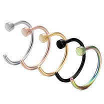 FIBO STEEL 20G 2-32PCS Stainless Steel Body Jewelry Piercing Nose Ring Hoop