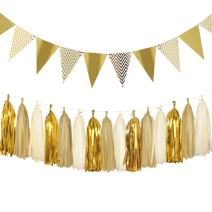 Aonor Sparkly Paper Pennant Banner Triangle Flags Bunting 8.2 Feet and Tissue Paper Tassels Garland 15 pcs for Baby Shower, Birthday Party Decorations, Metallic Gold
