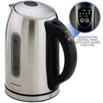 Ovente KS890S Electric Kettle, 1.7L, Cordless, 1100W, BPA-Free, 5 Preset Settings, Auto Shut-Off & Boil-Dry Protection, Silver