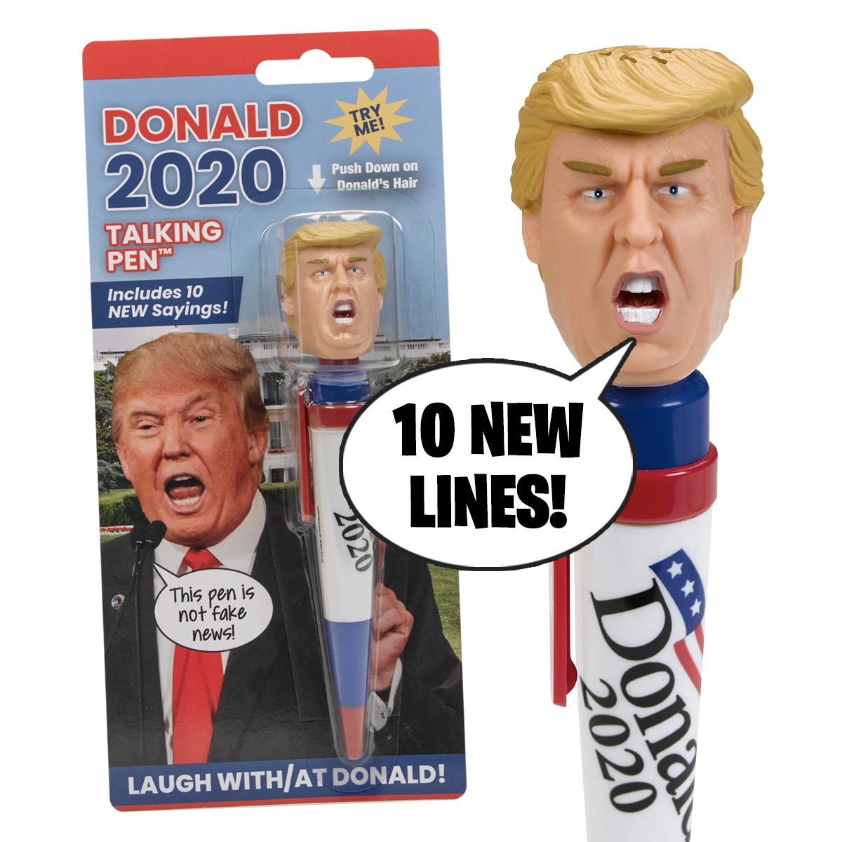 NEW Donald Trump 2020 Talking Pen, 10 NEW President Trump Sayings, Trump's Real Voice, Just Click & Listen, Funny Gifts For Democrats or Republicans