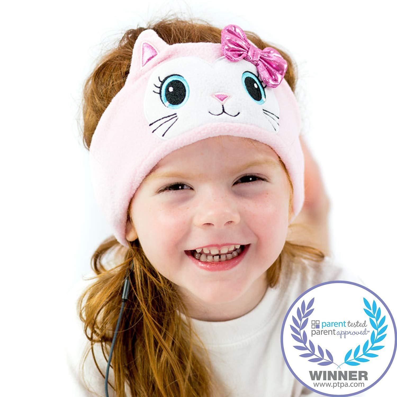 CozyPhones Kids Headphones Volume Limited with Ultra-Thin Speakers & Super Soft Fleece Headband - Perfect Toddlers & Children's Earphones for Home, School & Travel - Pink Kitty