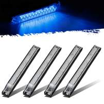 "6"" Clear/Blue Underwater Led RV Boat Light 12LED Utility Strip Light Sealed 4pcs, Universal 6 Inch Boat Marine Trailer Thin Clear Lens Blue Led Side Marker and Clearance Lights Strip Bar"