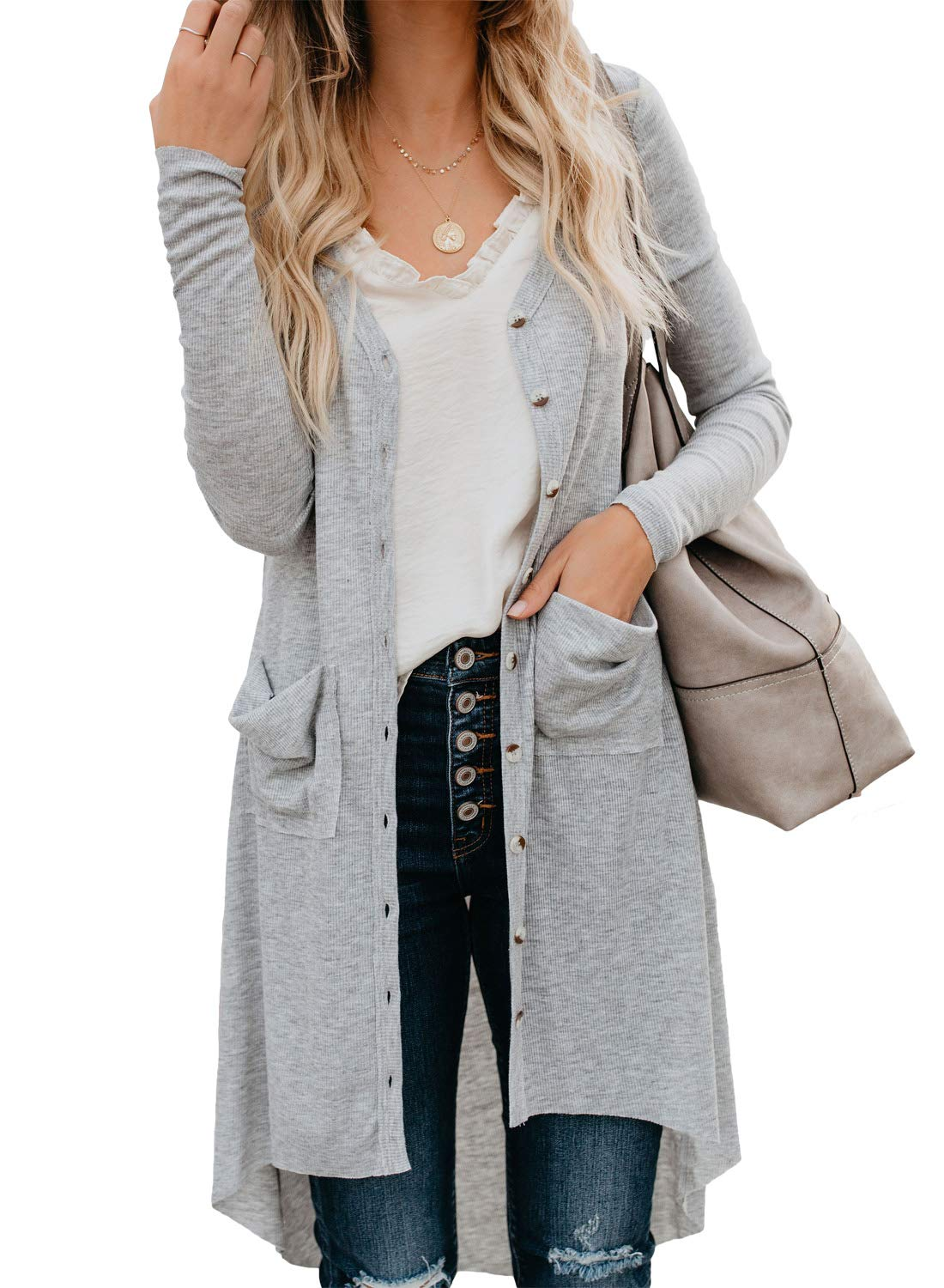 Long Sleeve Solid Color Cardigan Sweaters for Women - Button Down Pocketed Knit Cardigans Outerwear