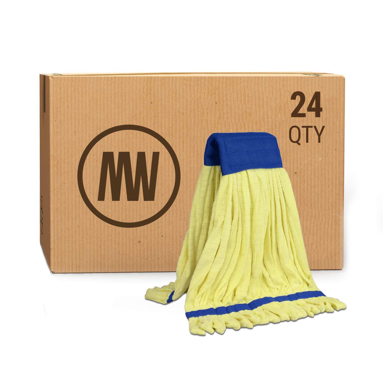 Bulk Large Microfiber Tube Mop Head (18 oz.) | Wholesale Commercial Industrial Wet Mops | Machine Washable | Yellow | Case Quantity (24 Count)
