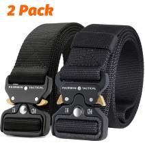 Fairwin Tactical Belt, 2 PCS 1.5 Inch Military Style Nylon Web Belt Mens Belt with Heavy-Duty Quick-Release Buckle