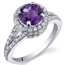 Majestic Sensation 1.25 Carats Amethyst Ring in Sterling Silver Rhodium Nickel Finish Sizes 5 to 9