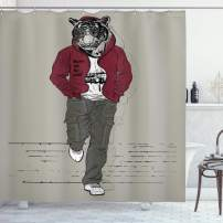 """Ambesonne Modern Shower Curtain, Hipster Tiger in Sportswear Taking a Walk Adaptation to Urban City Theme, Cloth Fabric Bathroom Decor Set with Hooks, 84"""" Long Extra, Ruby Sage"""
