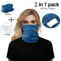 Maisolly Unisex Bandana Face Mask Full Protection Neck Gaiter with PM 2.5 Safety Filters 2 Masks + 10 pcs