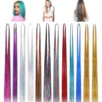 Neween 48'' Hair Tinsel Strands Kit Hair 12 Colors 2400 Strands Sparkling Shiny Hair Flairs Extensions Silk Fairy Hair Party Tinsel Hair Extensions Highlights Multi-Colors Synthetic Hair Streak Bling