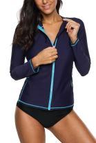 Vegatos Women's Zip Front Long Sleeve Rash Guard Swimsuit UV Swim Shirt Swimwear