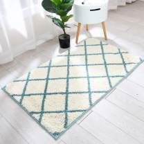 Trellis Area Rug Made of 100% Polyester Extra Soft and Non Slip,Specialized in Machine Washable Accent Rug(Sky Blue,45x27 Inch )