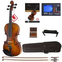 Cecilio Violin For Beginners - Beginner Violins Kit For Student w/Case, Rosin, 2 Bows, Tuner, First Lesson Book - Starter Musical Instruments For Kids & Adults Size 4/4 Color Varnish