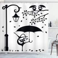 "Ambesonne Cat Shower Curtain, Funny Kitty with Umbrella Dancing Under Street Lantern in Town Urban Humorous Print, Cloth Fabric Bathroom Decor Set with Hooks, 75"" Long, Black White"