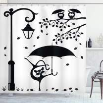 """Ambesonne Cat Shower Curtain, Funny Kitty with Umbrella Dancing Under Street Lantern in Town Urban Humorous Print, Cloth Fabric Bathroom Decor Set with Hooks, 84"""" Long Extra, Black White"""