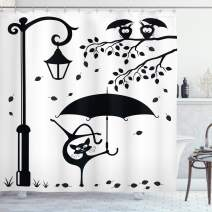 "Ambesonne Cat Shower Curtain, Funny Kitty with Umbrella Dancing Under Street Lantern in Town Urban Humorous Print, Cloth Fabric Bathroom Decor Set with Hooks, 84"" Long Extra, Black White"