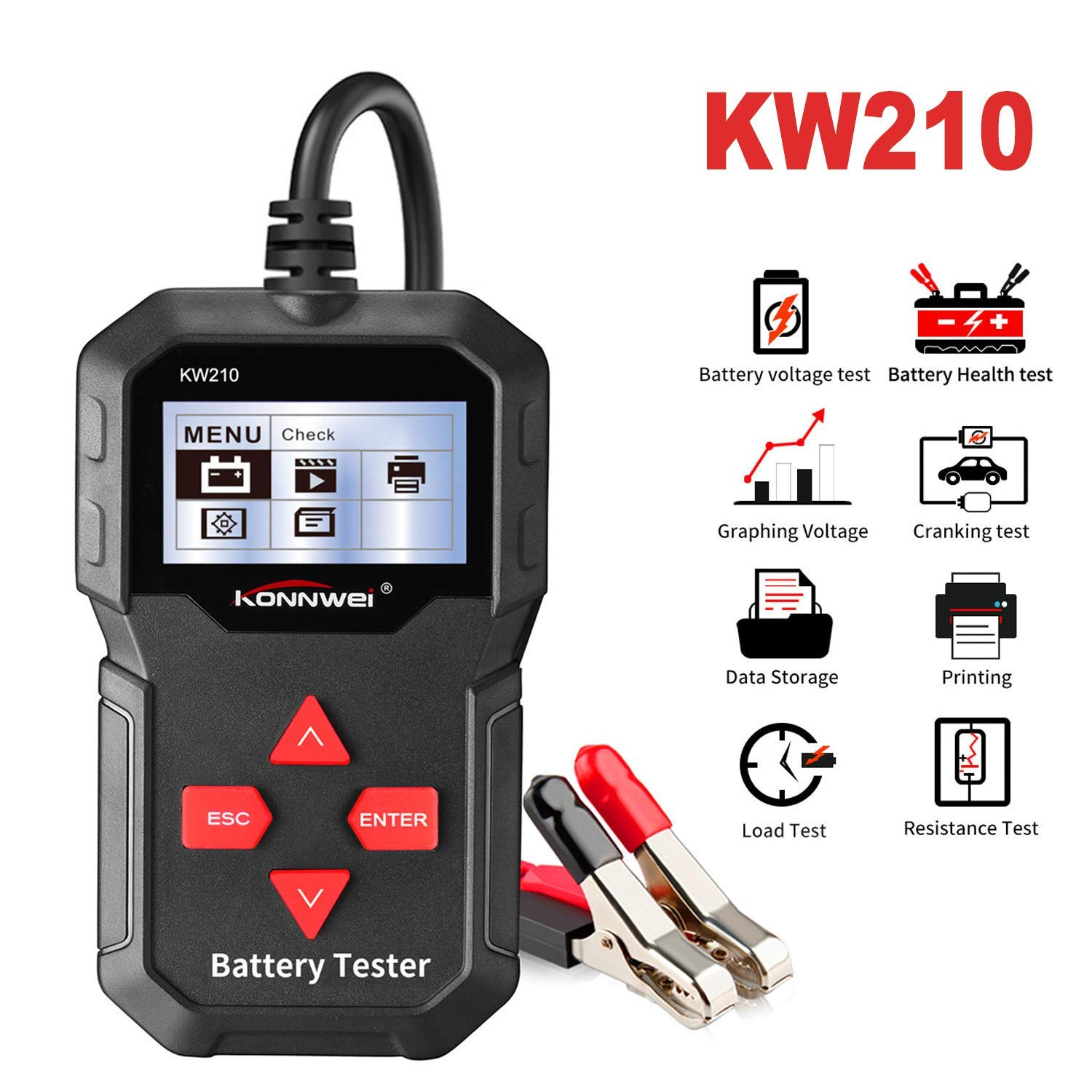 12V LCD Screen Car Battery Load Tester, Multi-Language Charging Tester 100-2000 CCA 220AH for Various Cars, Rechargeable Batteries