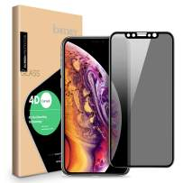 Privacy Screen Protector for iPhone Xs Max/iPhone 11 Pro Max - ICHECKEY 4D Curved Anti-Spy Anti-Peeping Tempered Glass Screen for iPhone Xs Max/11 Pro Max, 6.5 Inch – Black