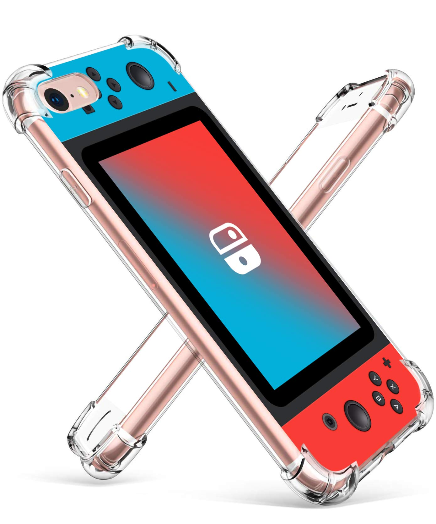 """Coralogo for iPhone 7/8 TPU Case, Cute Cartoon Funny Design Stylish Slim Ultra Clear Protective Fashion Fun Cool Bumper Cover Skin Teens Kids Girls Boys Cases for iPhone 7/8 4.7"""" (Blue Red Games"""