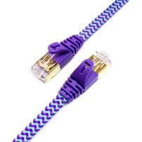 Tera Grand - 12FT - CAT7 10 Gigabit Ethernet Ultra Flat Patch Cable for Modem Router LAN Network - Braided Jacket, Gold Plated Shielded RJ45 Connectors, Faster Than CAT6a CAT6 CAT5e, Purple & Blue